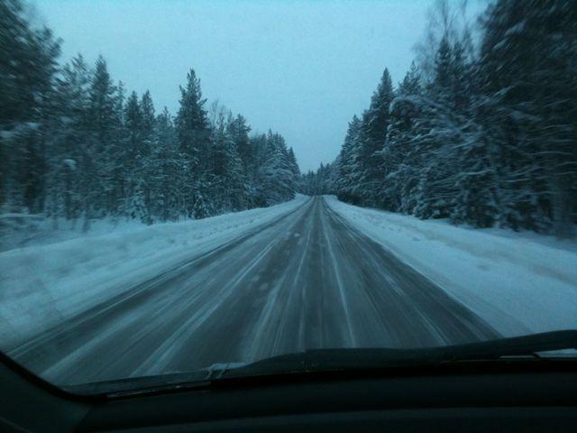vinterväg på väg till Sälen